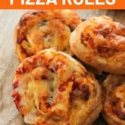"image of final dish with text overlay ""vegetarian pizza scrolls""."