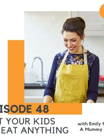 "brunette woman wearing an apron with text overlay ""get your kids to eat anything""."