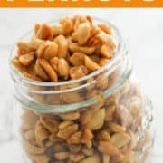 honey roasted peanuts in a glass jar.