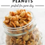 "jar of peanuts with text overlay ""honey roasted peanuts""."