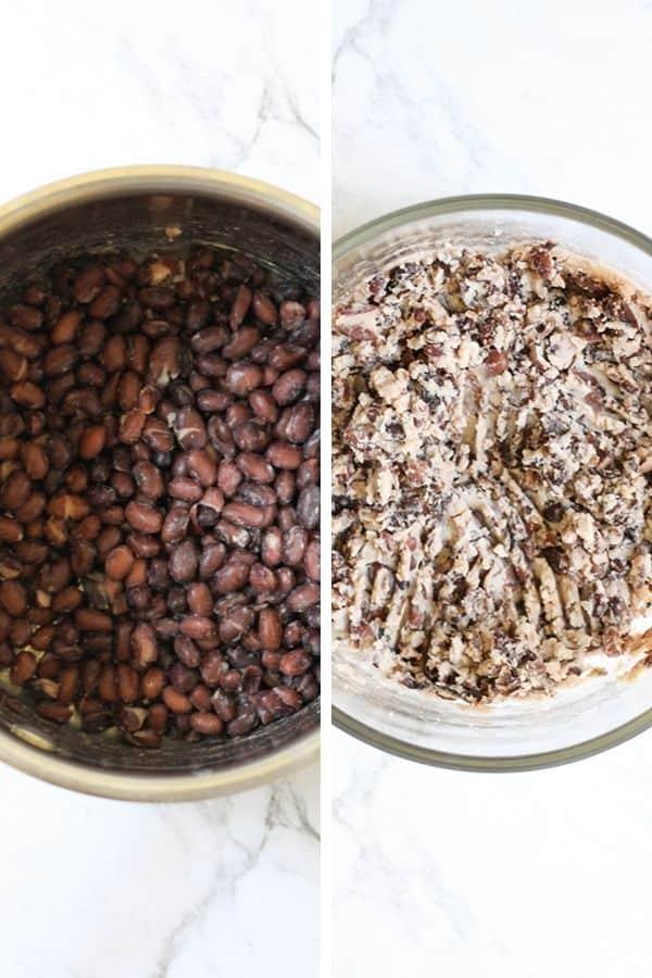 mashed black beans.