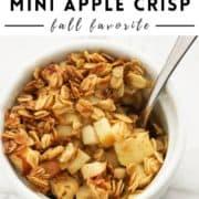 "mini fruit crisp in a white bowl with text overlay ""air fryer mini apple crisp""."