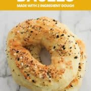 "bagels on on top of each other with text overlay ""air fryer bagels using 2 ingredient dough""."