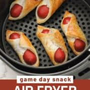 """pigs in a blanket in an air fryer basket with text overlay """"air fryer pigs in a blanket""""."""