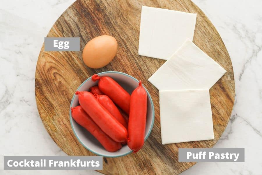 recipe ingredients oon top of a wooden serving board.
