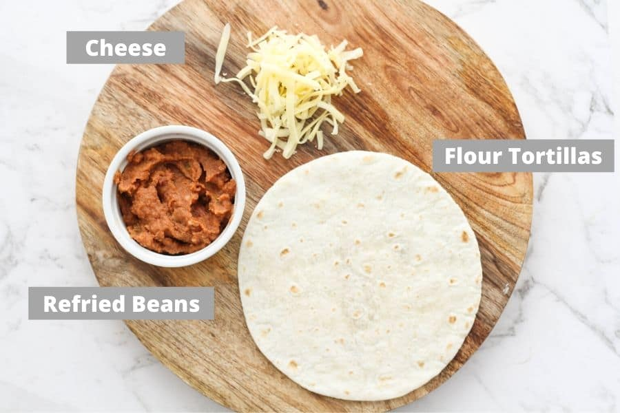 ingredients laid on a wooden board.