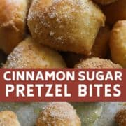 pretzel bites covered in cinnamon sugar.