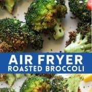 "roasted broccoli on a white plate with lemon wedges and chopped chilli with text overlay ""air fryer roasted broccoli""."