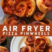 """pizza scrolls piled in a plastic container with text overlay """"air fryer pizza pinwheels""""."""