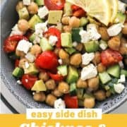 "salad in a blue bowl with text overlay ""chickpea & avocado salad""."