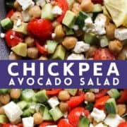 "salad in a blue bowl with text overlay ""chickpea avocado salad""."