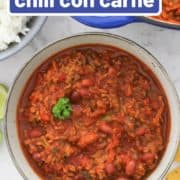 "a bowl of chilli with text overlay ""healthy chilli con carne""."