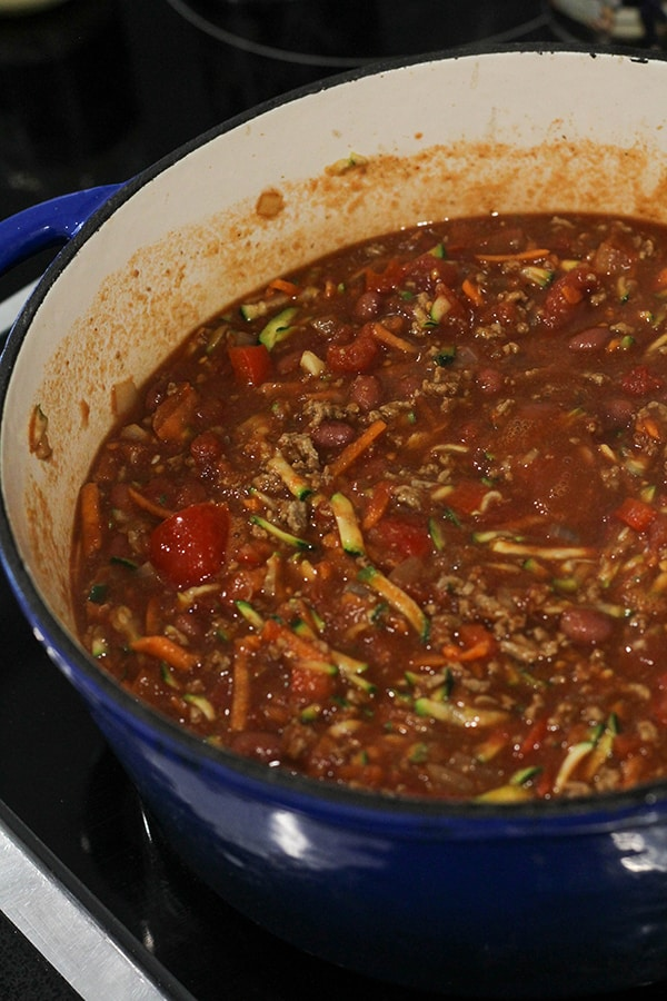 chilli cooking in a large pot.