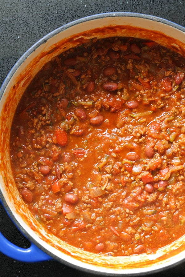 a large pot of chilli con carne.