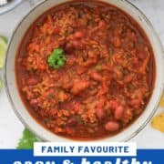 "a bowl of chilli with text overlay ""easy and healthy chili con carne""."