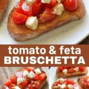 "bruschetta on a white plate with text overlay ""tomato and feta bruschetta""."