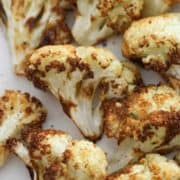 roasted cauliflower on a white plate.