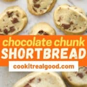 "shortbread cookies on a marble background with text overlay ""chocolate chunk shortbread""."
