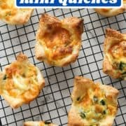 "cooked mini quiches on a cooling rack with text overlay ""puff pastry mini quiches""."