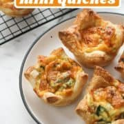 "quiches on a white plate with text overlay ""puff pastry mini quiches""."