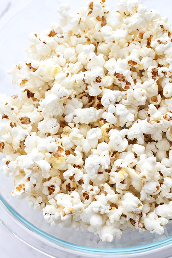 popcorn in a glass bowl.
