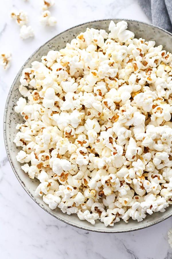 popcorn in a grey bowl.