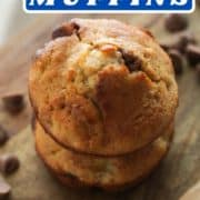 "banana muffins on a wooden board with text overlay ""one banana muffins""."
