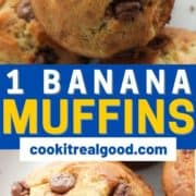 "banana muffins piled on top of each other on a white plate with text overlay ""one banana one bowl muffins""."