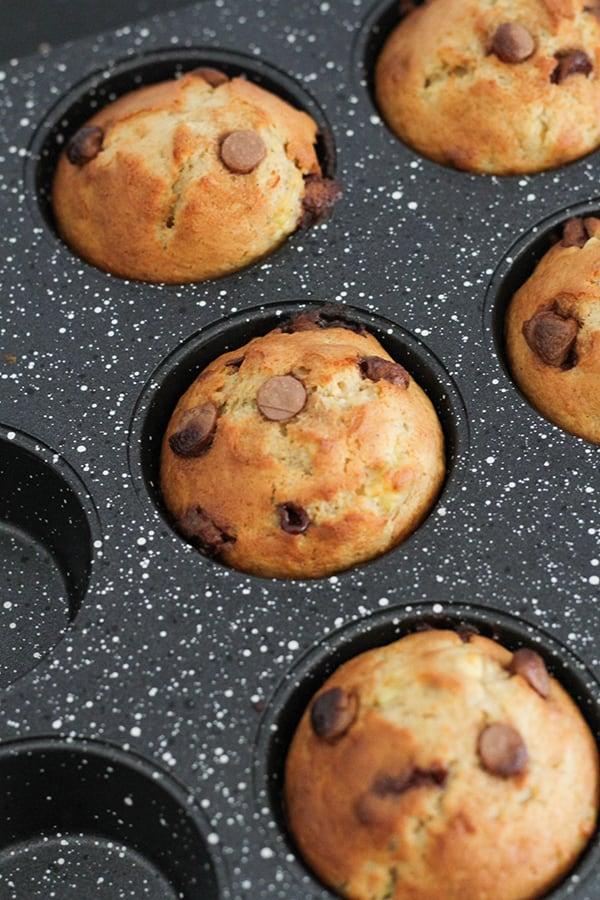 banana muffins in a muffin tray.