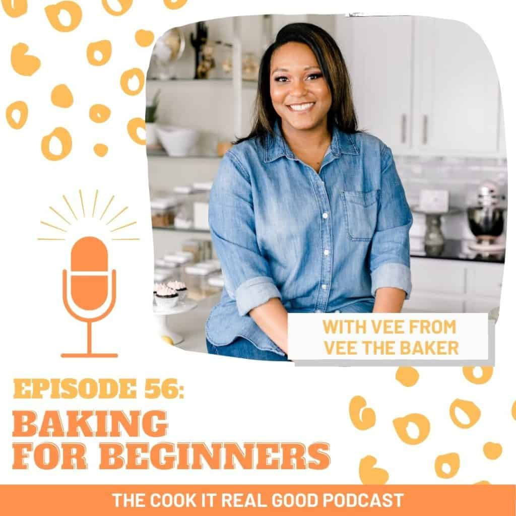"headshot of a woman with text overlay ""baking for beginners""."