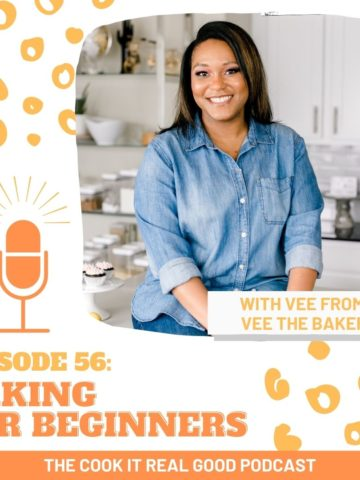 """headshot of a woman with text overlay """"baking for beginners""""."""