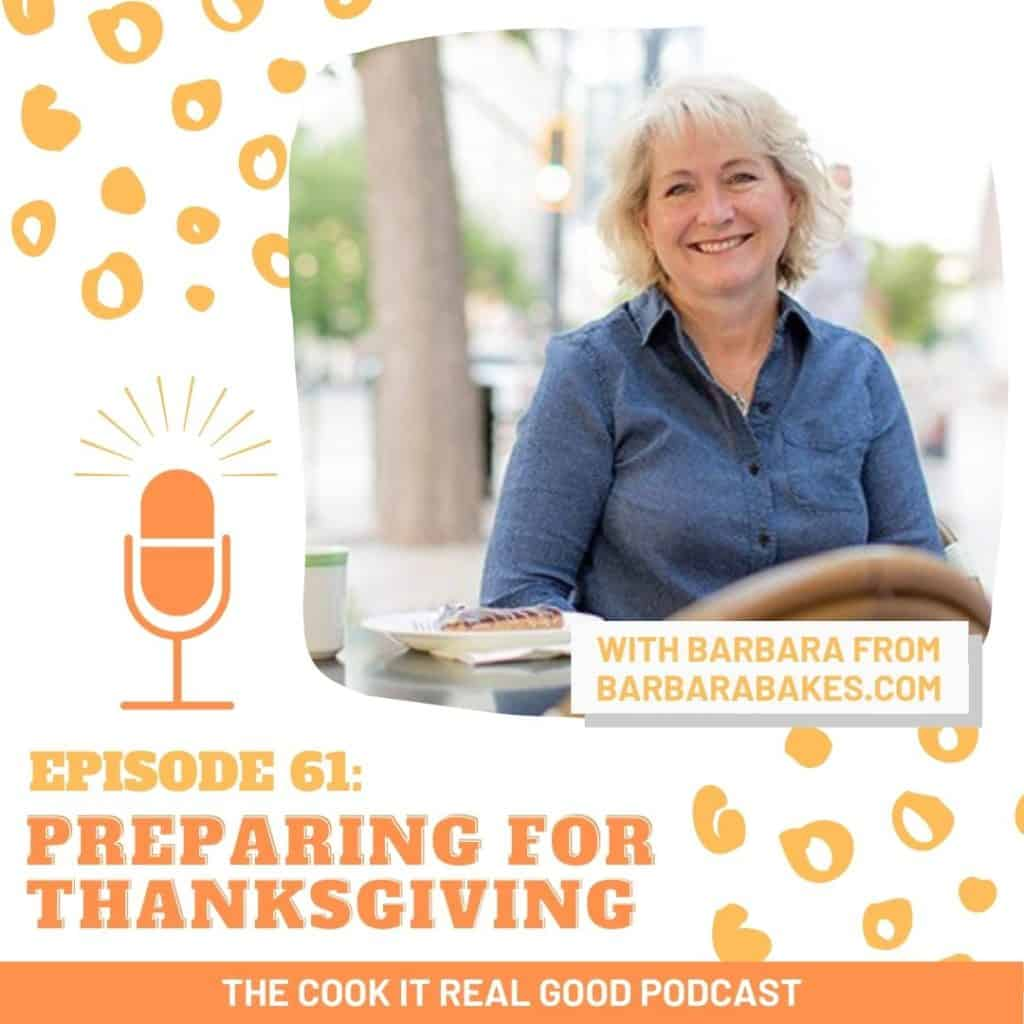 """headshot of a woman with text overlay """"episode 61: preparing for thanksgiving""""."""