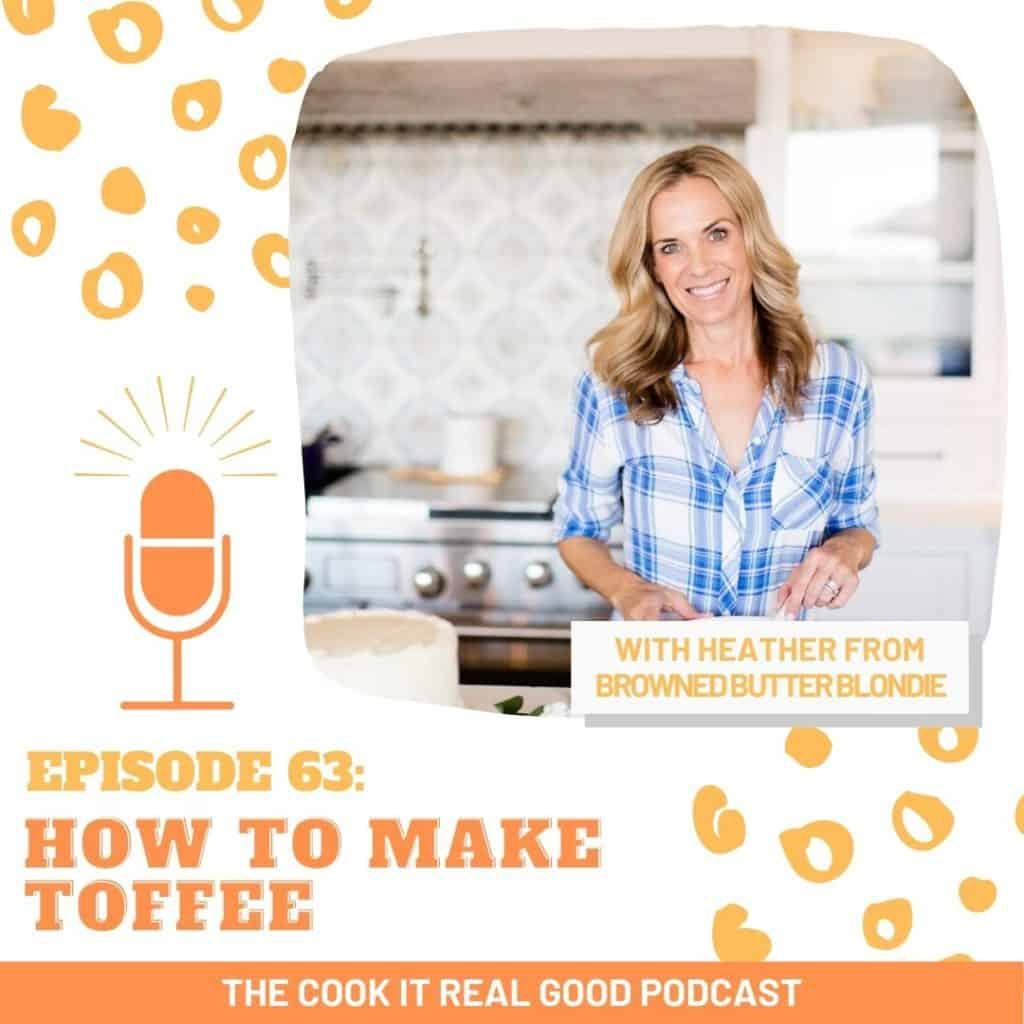 "woman in kitchen with text overlay ""how to make toffee""."