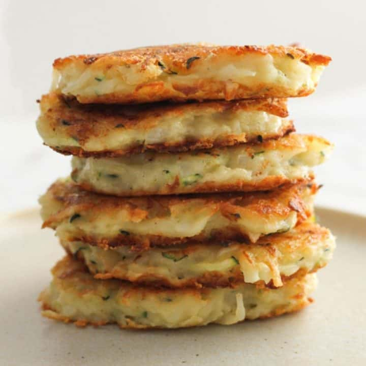 stack of fritters on a plate.