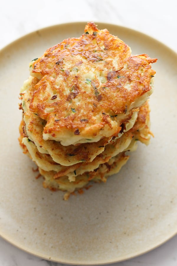 stack of potato fritters on a plate.