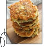 "stack of fritters on a plate with text overlay ""potato fritters""."