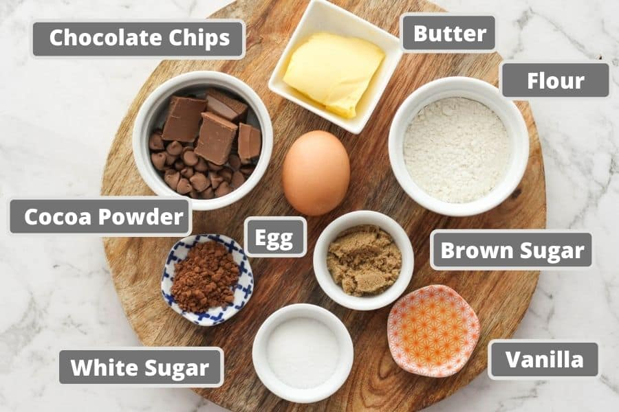 brownie ingredients including butter, sugar and cocoa powder.