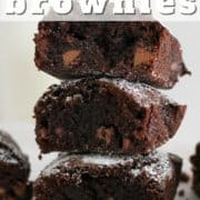 "stack of brownies with text overlay ""air fryer chocolate brownies""."
