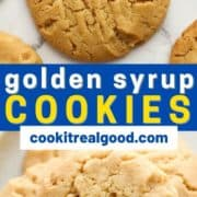 """cookies in a stack with text overlay """"golden syrup cookies""""."""