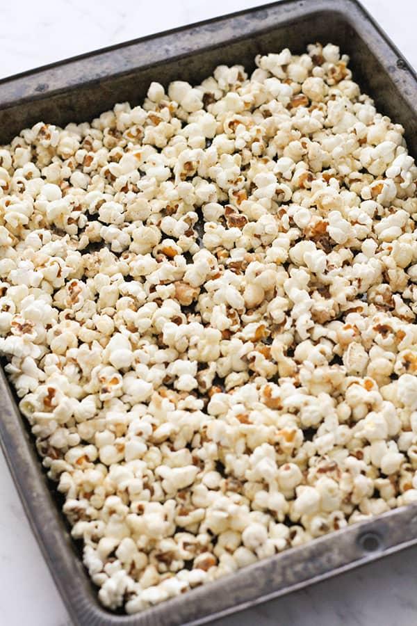 popcorn on a baking tray.