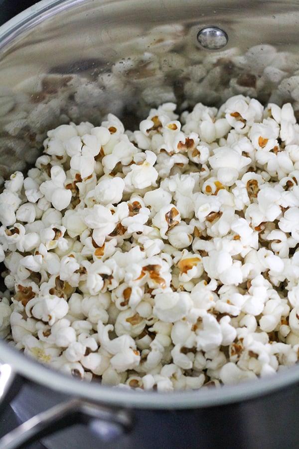 popcorn in a saucepan.