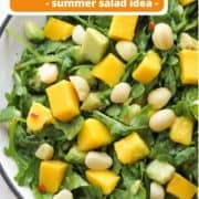"""salad in a white bowl with text overlay """"mango and avocado salad""""."""