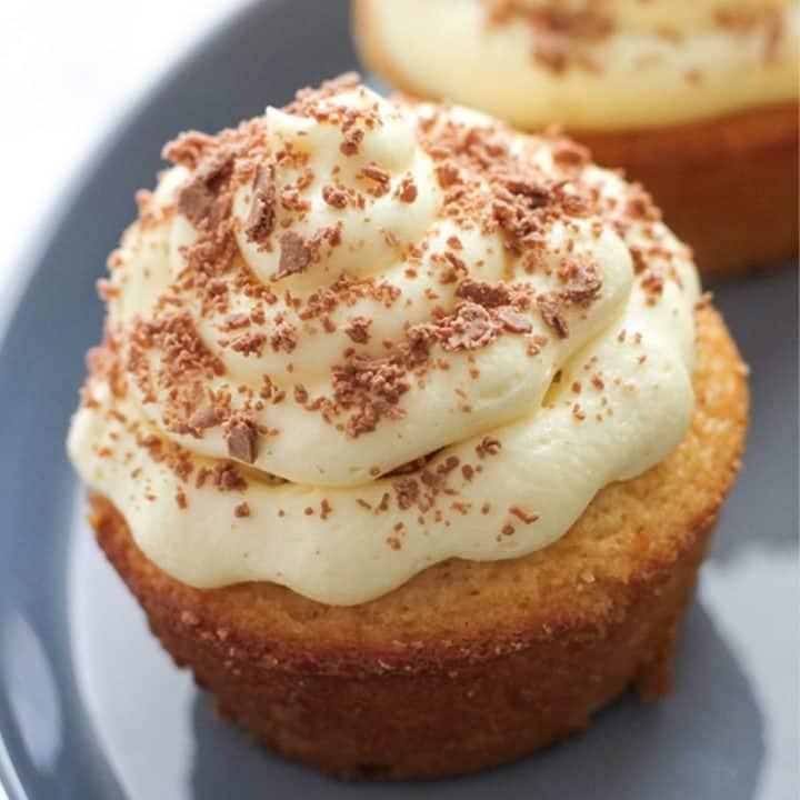 close up image of a white chocolate mud cupcake.