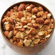 air fryer granola in a wooden bowl.