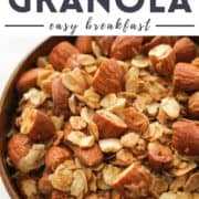 "granola in a bowl with text overlay ""air fryer granola""."