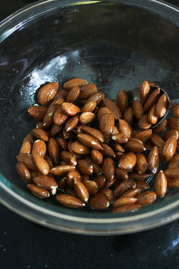 almonds in a glass bowl.