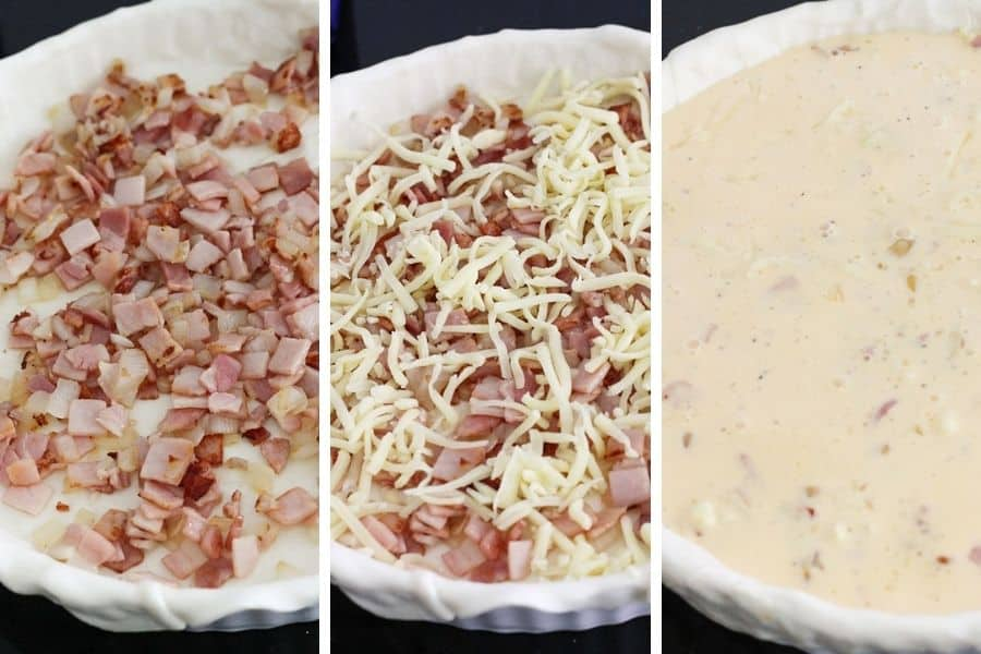 multiple images of assembling a bacon and egg pie.