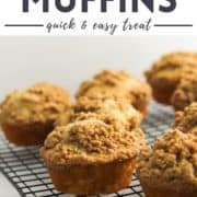 """muffins on a wire cooling rack with text overlay """"cinnamon muffins""""."""