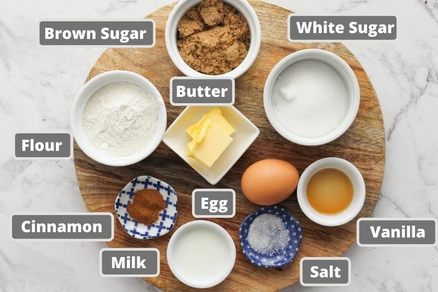muffins ingredients on a wooden board.