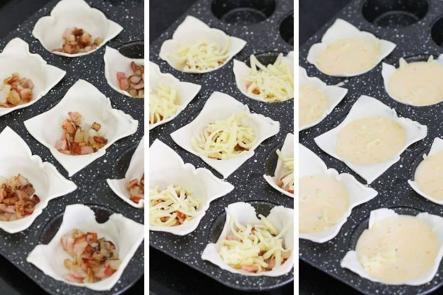 step by step photos of how mini bacon egg pies come together.